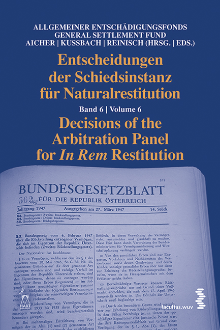 Cover Entscheidungen der Schiedsinstanz für Naturalrestitution/Decisions of the Arbitration Panel for In Rem Restitution
